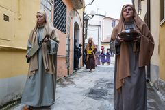 Easter Religious Procession in Barile, Basilicata Italy. BARILE, ITALY - APRIL 18, 2014: Easter Religious Procession, the Holy Friday on April 18, 2014 in Barile stock photography