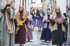 Easter Religious Procession in Barile, Basilicata Italy. BARILE, ITALY - APRIL 18, 2014: Easter Religious Procession, the Holy Friday on April 18, 2014 in Barile royalty free stock images