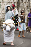 Easter Religious Procession. BARILE, ITALY - APRIL 18, 2014: Easter Religious Procession, the Holy Friday on April 18, 2014 in Barile, Basilicata Italy Royalty Free Stock Photography