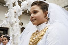 Easter Religious Procession in costume In Barile, Italy. BARILE, ITALY - APRIL 18, 2014: Easter Religious Procession, the Holy Friday on April 18, 2014 in Barile Royalty Free Stock Image