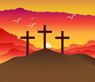 Easter resurrection. Hill with three crosses for resurrection of Jesus Christ Stock Images