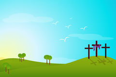 Easter Resurrection. Hill of catholic resurrection with three and crosses Stock Photography