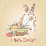 Easter retro card with cute hand drawn bunny Royalty Free Stock Photography