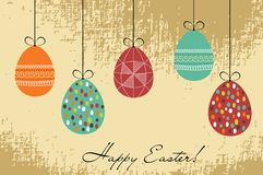 Easter retro card. With hanging eggs Royalty Free Stock Image