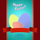 Easter retro card with  paper eggs and ribbon for greeting Royalty Free Stock Photography