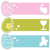 Easter Retro Eggs Horizontal Banners Royalty Free Stock Photos