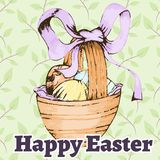 Easter retro hand drawn design card Royalty Free Stock Images