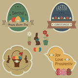 Easter retro labels and tags Royalty Free Stock Image