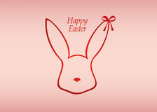 Easter ribbon bunny. Red bow. Greeting card or invitation Royalty Free Stock Photo