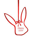 Easter ribbon bunny. Red bow. Greeting card or invitation Stock Image