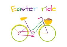 Easter ride colorful bike with Easter eggs royalty free illustration