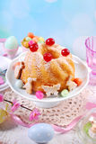 Easter ring cake with cherry decoration and icing sugar Royalty Free Stock Photography