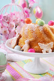 Easter ring cake with colorful candy eggs on the top Royalty Free Stock Photography