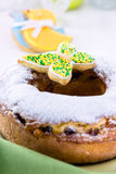 Easter ring cake with icing sugar and colorful butterfly Royalty Free Stock Image