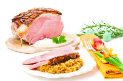 Easter roast, Easter eat. With tulip royalty free stock image