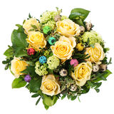 Easter roses bouquet with colored eggs Royalty Free Stock Photo