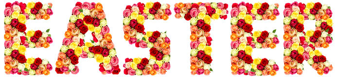 EASTER, roses flower letters Royalty Free Stock Photos