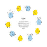 Easter round frame with funny bunnies and chicks Stock Photography