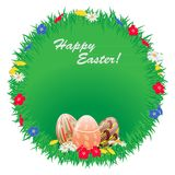 Easter round frame of grass with flowers and painted eggs. Vector illustration Stock Photos