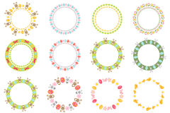 Easter round frame for your text set. Isolated on white background. Vector illustration. Stock Photos