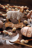 Easter rustic decoration with sheep and eggs Royalty Free Stock Image