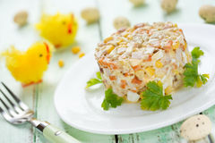 Easter salad with chicken, corn, egg and carrot Royalty Free Stock Images