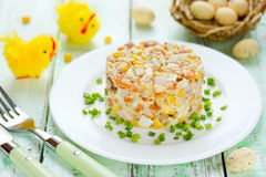 Easter salad with chicken, corn, egg and carrot Stock Photo