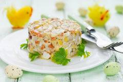 Easter salad with chicken, corn, egg and carrot - idea for Easte Stock Images