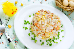 Easter salad with chicken, corn, egg and carrot - idea for Easte Stock Image