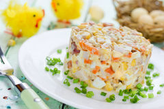 Easter salad with chicken, corn, egg and carrot - idea for Easte Royalty Free Stock Photography