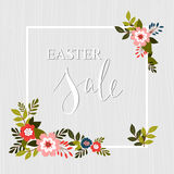 Easter sale advertisement frame with floral elements . Vector. Stock Photography