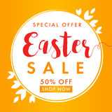 Easter sale background banner. Easter sale banner background template with beautiful label of leaves, vector illustration Royalty Free Stock Photos