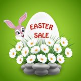 Easter Sale background with bunny and flowers Stock Photography