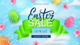 Easter sale background, card with hand drawn flowers, leaves, blue sky, eggs. Stock Images