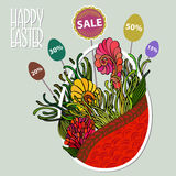 Easter Sale Background with Egg like basket with flowers  Stock Photo