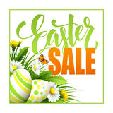 Easter sale background with eggs and spring flower. Vector illustration Royalty Free Stock Photo
