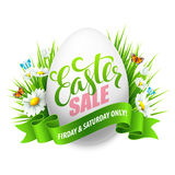 Easter sale background with eggs and spring flower. Vector illustration Stock Image