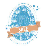 Easter Sale Background. Hand drawn ornamental easter egg with wa Royalty Free Stock Photo