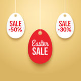 Easter Sale background poster with eggs and discounts percentage.  Royalty Free Stock Photos