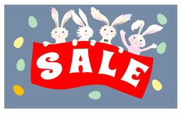 Easter Sale background poster with eggs and discounts percentage. Cute cartoon bunny rabbit with colored eggs. Vector Stock Image