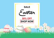 Easter sale background template 50% offer with colorful Easter. Easter sale background template 50% offer with colorful Easter eggs and beautiful flower and Stock Photography
