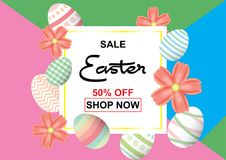 Easter sale background template 50% offer with colorful Easter. Easter sale background template 50% offer with colorful Easter eggs and beautiful flower and Royalty Free Stock Photo