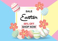 Easter sale background template 50% offer with colorful Easter. Easter sale background template 50% offer with colorful Easter eggs and beautiful flower and Stock Photo