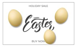 Easter. Sale banner background with realistic eggs and Happy Easter lettering. Easter sale design template.  Stock Image
