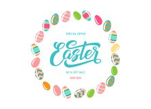 Easter sale banner background template. With beautiful colorful eggs isolated on white background. Vector illustration. Design for site, shop, hotel and Royalty Free Stock Images