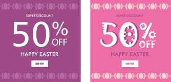 Easter sale banner background template with eggs. vector illustration