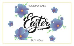 Easter. Sale banner background with trendy spring flowers and Happy Easter lettering. Easter sale design template.  Stock Image