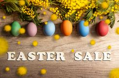 Easter sale banner. With colorful paint eggs royalty free stock photo
