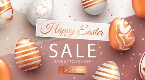 Easter Sale banner design with rose gold ornate eggs and confetti. Holiday Easter background with place for your text. Modern style greeting card or invitation royalty free illustration