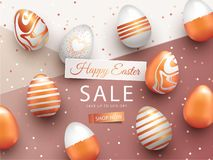 Easter Sale banner design with rose gold ornate eggs and confetti. Holiday Easter background with place for your text. Modern style greeting card or invitation vector illustration